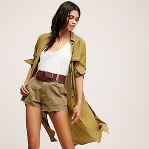 Free People Gunner Army Green High Rise Short